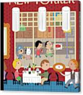 People Enjoying Dinner In The City Canvas Print