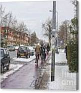 People On Bicycles In Winter Canvas Print