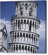 People On Top Of Leaning Tower Of Pisa Canvas Print