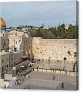 People Praying At At Western Wall Canvas Print