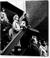 People Watching A Fire - Nyc - 1980 Canvas Print