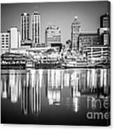 Peoria Illinois Skyline At Night In Black And White Canvas Print