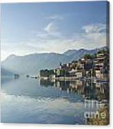 Perast Village In The Bay Of Kotor In Montenegro  Canvas Print