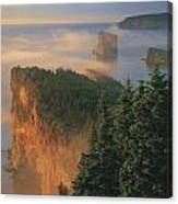 Perce Rock And The Three Sisters In Fog Canvas Print