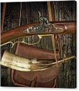 Percussion Cap And Ball Rifle With Powder Horn And Possibles Bag Canvas Print