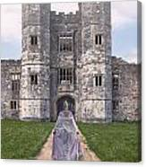 Period Lady In Front Of A Castle Canvas Print