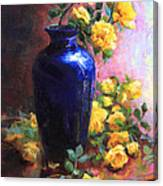 Persian Cobalt - Yellow Roses In Cobalt Vase Canvas Print