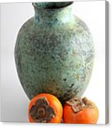Persimmon With Vase Canvas Print