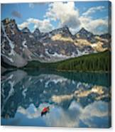 Person In Canoe On Moraine Lake, Banff Canvas Print