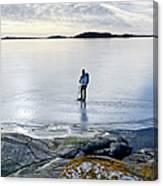Person Skating At Frozen Sea Canvas Print
