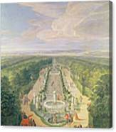 Perspective View Of The Grove From The Galerie Des Antiques At Versailles, 1688 Oil On Canvas Canvas Print
