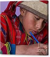 Peru Writing Lesson In Huilloc Primary School Peru Canvas Print