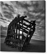 Peter Iredale Shipwreck Black And White Canvas Print