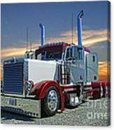 Peterbilt At The Beach  Canvas Print
