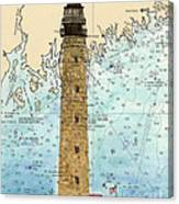 Petit Manan Island Lighthouse Me Nautical Chart Map Art Canvas Print