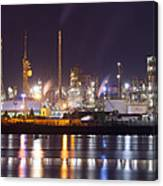Petrochemical Plant In Night  Canvas Print