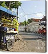 Petrol Stall And Cyclo Taxi In Solo City Indonesia Canvas Print