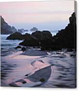 Pfeiffer Beach Rocks, Purple Sand And Canvas Print