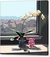 Phalaenopsis Orchid In Sunny Window Canvas Print