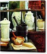 Pharmacist - Mortar Pestles And White Jars Canvas Print