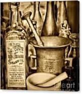 Pharmacy - Snake Oil -  Black And White Canvas Print
