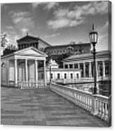 Philadelphia Art Museum And Waterworks 11 Bw Canvas Print