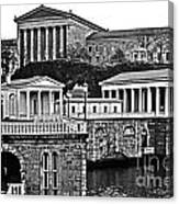 Philadelphia Art Museum At The Water Works In Black And White Canvas Print