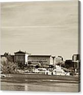 Philadelphia Art Museum With Cityscape In Sepia Canvas Print