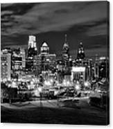Philadelphia Black And White Cityscape Canvas Print