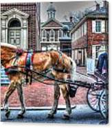 Philadelphia Carpenter's Hall Front View And Horse Canvas Print