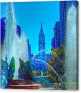 Philadelphia City Hall And Swan Fountain 2  Canvas Print