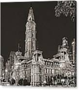 Philadelphia City Hall Mono Canvas Print