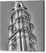 Philadelphia City Hall Tower Bw Canvas Print