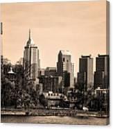Philadelphia Cityscape In Sepia Canvas Print