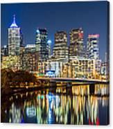 Philadelphia Cityscape Panorama By Night Canvas Print