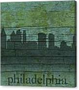 Philadelphia Pennsylvania Skyline Art On Distressed Wood Boards Canvas Print