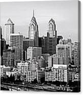 Philadelphia Skyline Black And White Bw Pano Canvas Print