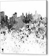 Philadelphia Skyline In Black Watercolor On White Background Canvas Print