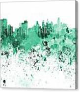 Philadelphia Skyline In Green Watercolor On White Background Canvas Print