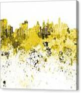 Philadelphia Skyline In Yellow Watercolor On White Background Canvas Print