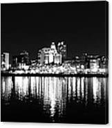 Philadelphia Skyline Panorama In Black And White Canvas Print