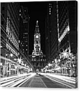 Philadephia City Hall -- Black And White Canvas Print