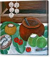 Philippine Still Life With Fish And Coconuts Canvas Print