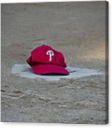 Phillies Hat On Home Plate Canvas Print