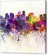 Phoenix Skyline In Watercolor Background Canvas Print