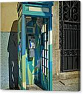 Phone Booth In Blues - Oporto Canvas Print