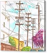 Phone Poles In An Alley - Westwood - California Canvas Print
