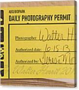 Photo Permit Canvas Print