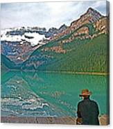 Photographers At Lake Louise In Banff National Park-ab Canvas Print