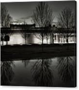 Piano Pavilion Bw Reflections Canvas Print